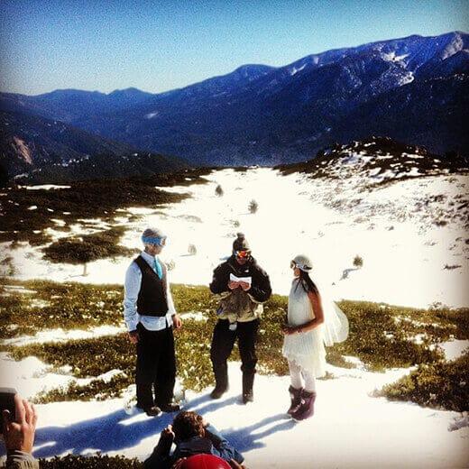 Ceremony atop Slide Peak at Snow Valley