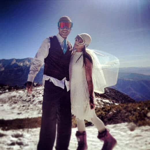 Mountaintop newlyweds... on top of the world, quite literally