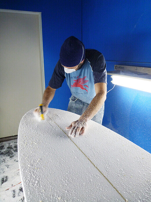Sanding the hull smooth
