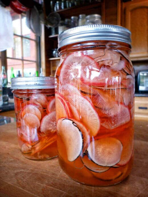 Quick pickled sweet and spicy radishes