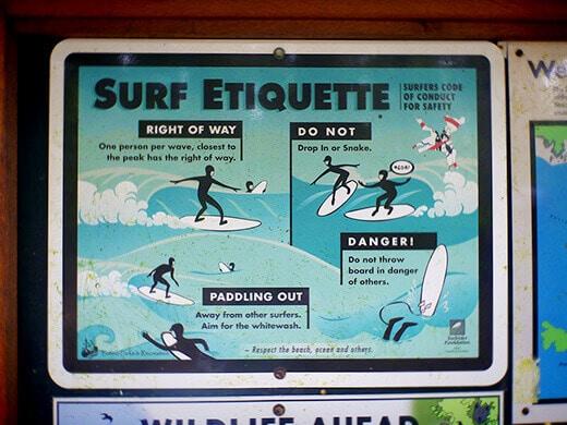 Surf etiquette in Tofino.