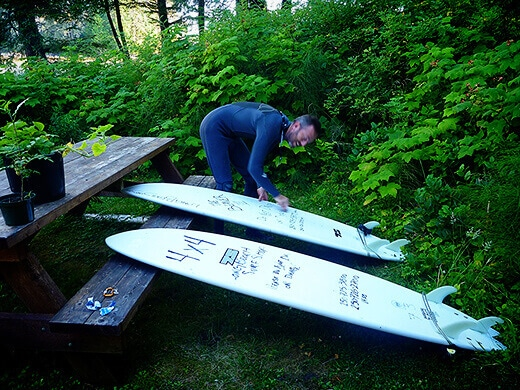 Surfing on Vancouver Island.