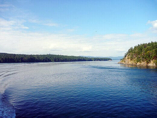 Passing the Gulf Islands and San Juan Islands through Haro Strait.