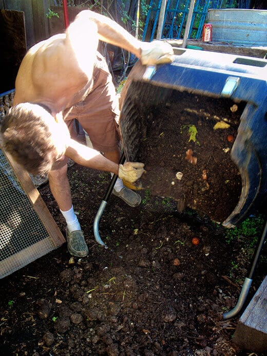 Emptying the compost tumbler