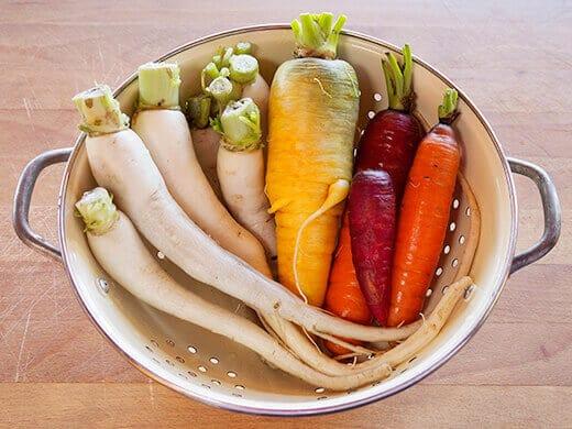 Homegrown daikon and carrots