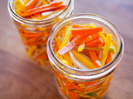 Pour brine over daikon and carrots