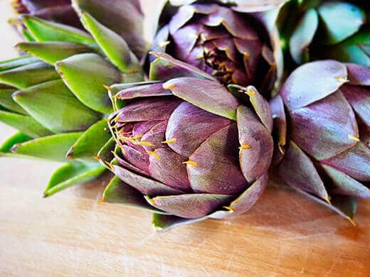 Freshly harvested Purple of Romagna artichokes
