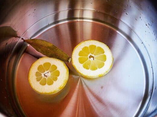 Add lemon slices and bay leaf for a more fragrant steam