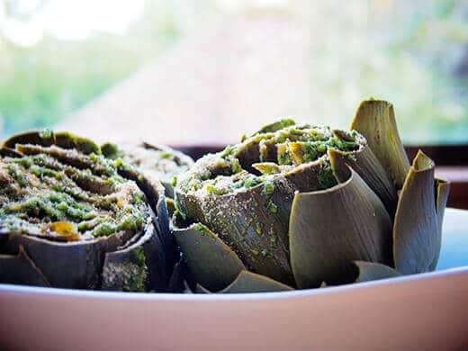 Steamed artichokes with pesto crumb
