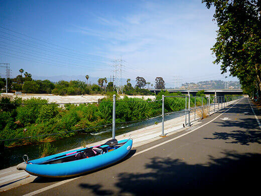 Elysian Valley bike path on the LA River