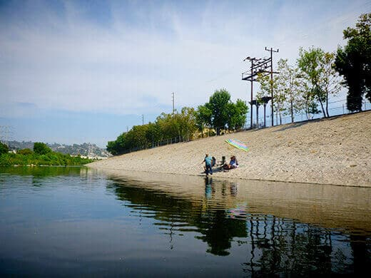 Fishermen on the banks of the LA River