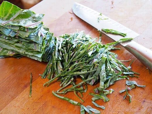 Sliced cabbage leaves