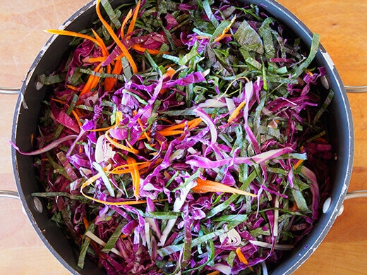 Finely shredded cabbage and carrots