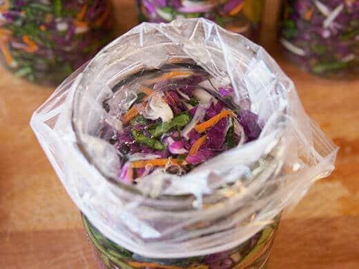 Water weight inside sauerkraut jar