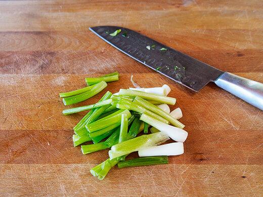Chop green onions