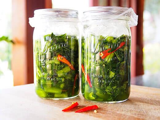 Mustard greens during lacto-fermentation