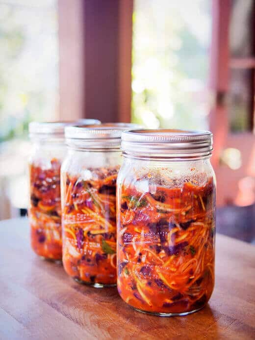 Homemade kimchi with red cabbage