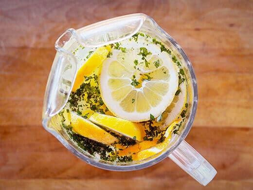 Homemade citrus-basil-mint vitamin water