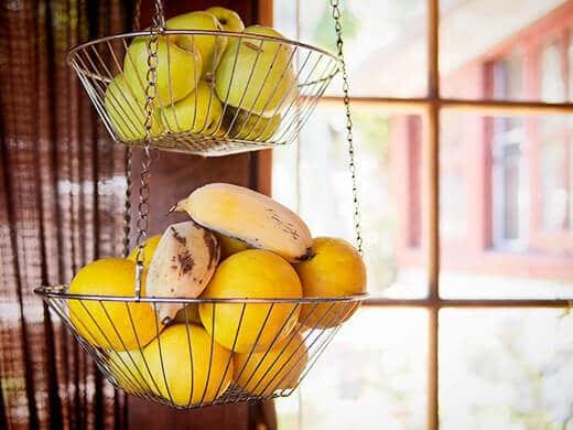 Garden bounty from my apple, orange and banana trees