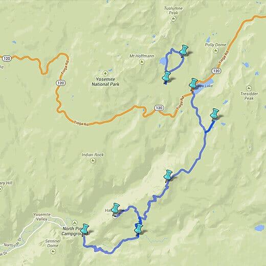 Epic Yosemite trail map