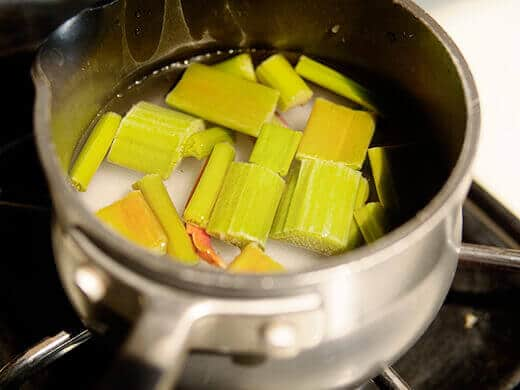 Combine rhubarb, sugar and water in a saucepan