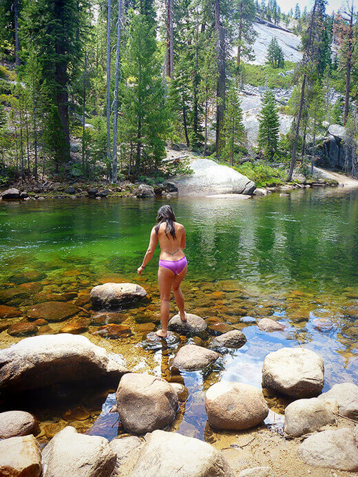 Taking a dip in the Merced River