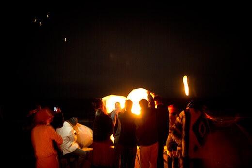 Lighting the sky lanterns