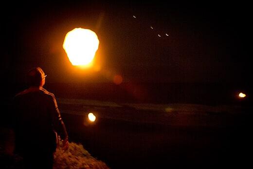 Releasing the sky lanterns