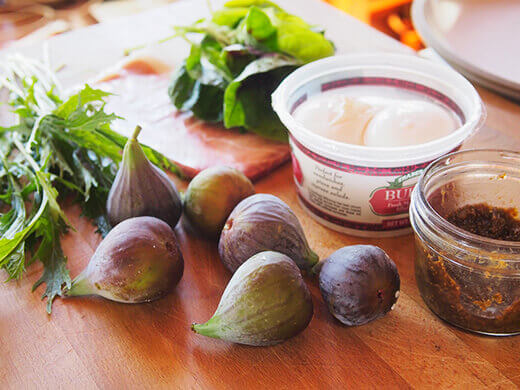 Seasonal summer salad ingredients