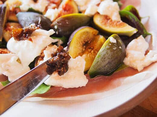 Balsamic fig jam with black peppercorn is superb in this salad