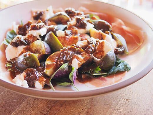 Fig, prosciutto and burrata salad with creamy balsamic vinaigrette