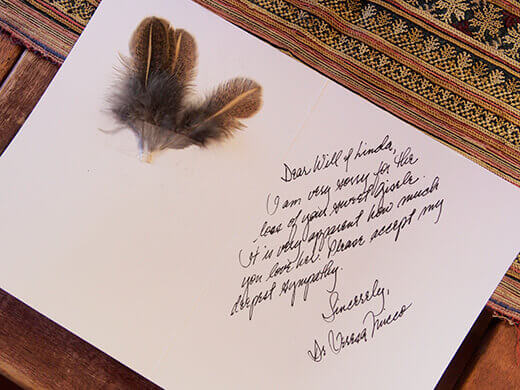 Sympathy card from Gisele's vet