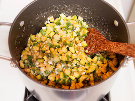 Combine all ingredients in a large, wide saucepan