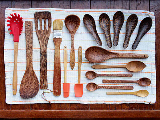 Oiled wooden spoons and utensils