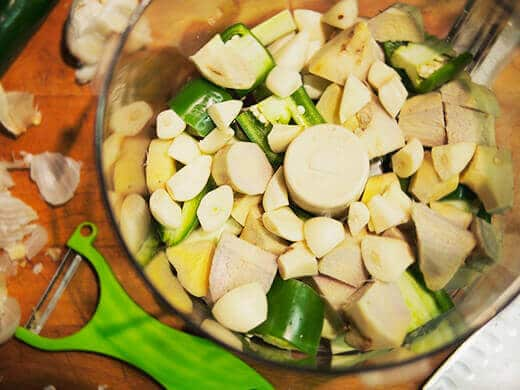 Jalapenos, lemongrass and ginger in a food processor