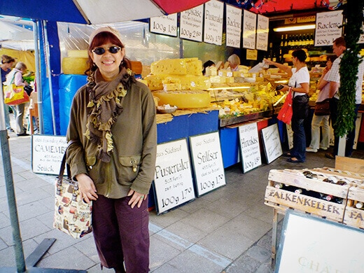 My mom at the cheese stall