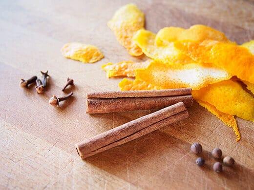 Cinnamon, cloves, allspice, and orange peels