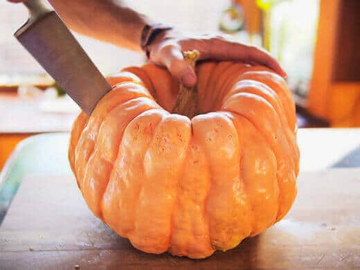 Cut open pumpkin