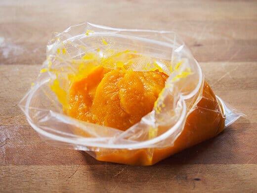 Store pumpkin puree in ziptop bag for freezing