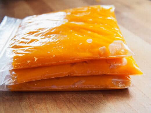 Bagged pumpkin puree ready for freezing