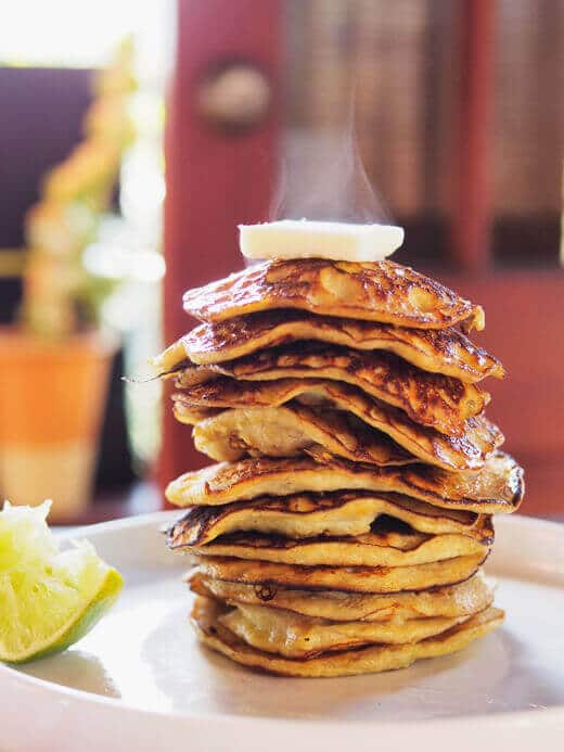 Two-ingredient pancakes with lime and honey