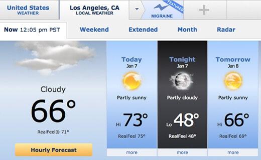 Summer temperatures in winter in Los Angeles
