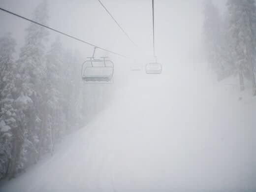 Daily commute at the ski resort
