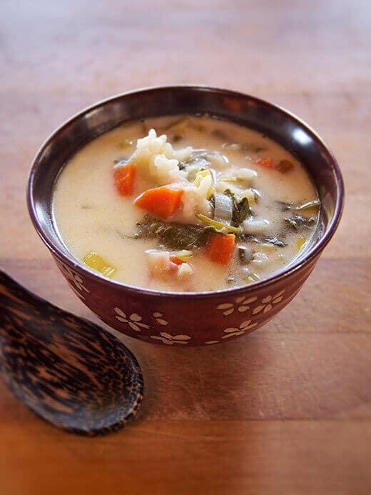 Creamy leek and sorrel soup