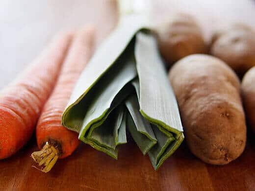 Pantry staples: carrots, leeks, potatoes