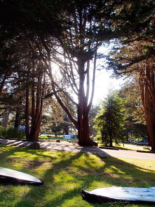 Camping and surfing in Big Sur