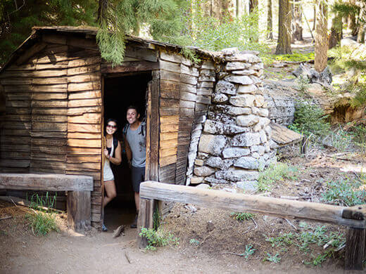 Cabin built inside a sequoia log