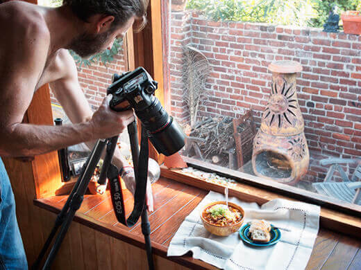 Behind the scenes of a recipe shoot