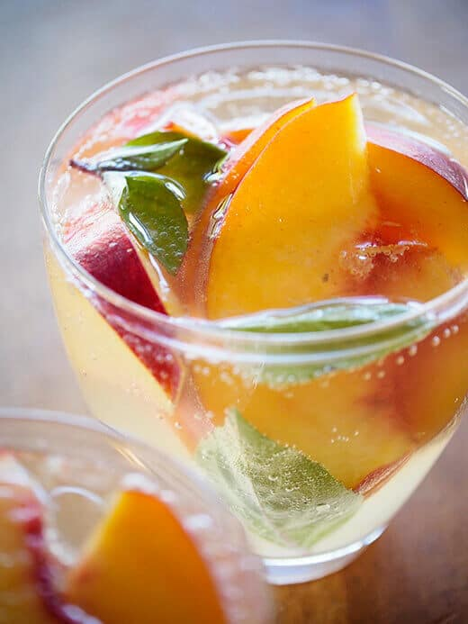 Sparkling summer sangria with lemongrass, ginger and peach