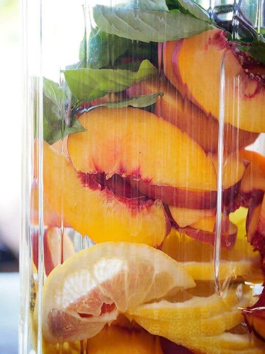 Fresh peaches, lemon and basil